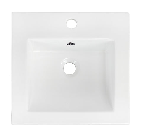 American Imaginations  21-in. W X 18-in. D Ceramic Top In White Color For 1 Hole Faucet AI-647