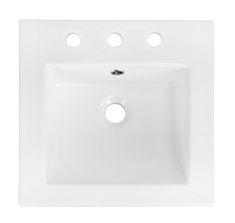 American Imaginations  21-in. W X 18-in. D Ceramic Top In White Color For 3H8-in. Faucet AI-663