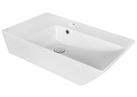 Image of American Imaginations  25.5-in. W Above Counter White Vessel Set For 1 Hole Left  Faucet AI-14890