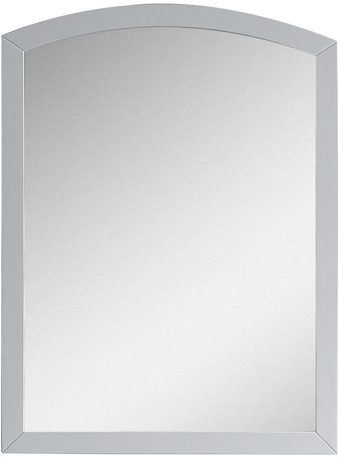 American Imaginations Bow 23.62-in. W X 31.5-in. H Modern Birch Wood-Veneer Wood Mirror In White AI-18265