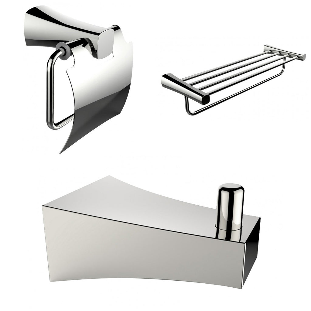 American Imaginations  Chrome Plated Multi-Rod Towel Rack With Robe Hook And Toilet Paper Holder Accessory Set AI-13497
