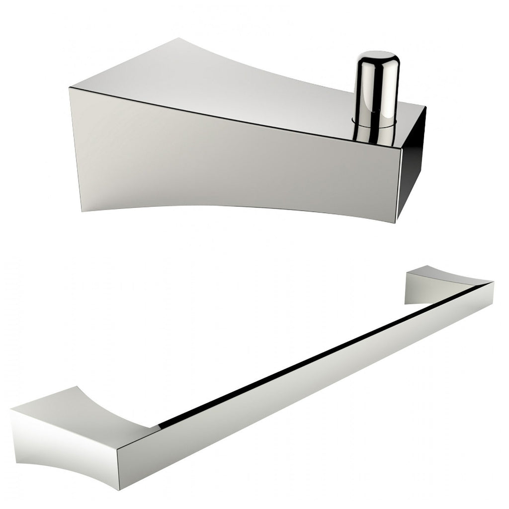 American Imaginations  Chrome Plated Single Rod Towel Rack And Robe Hook Accessory Set AI-13293