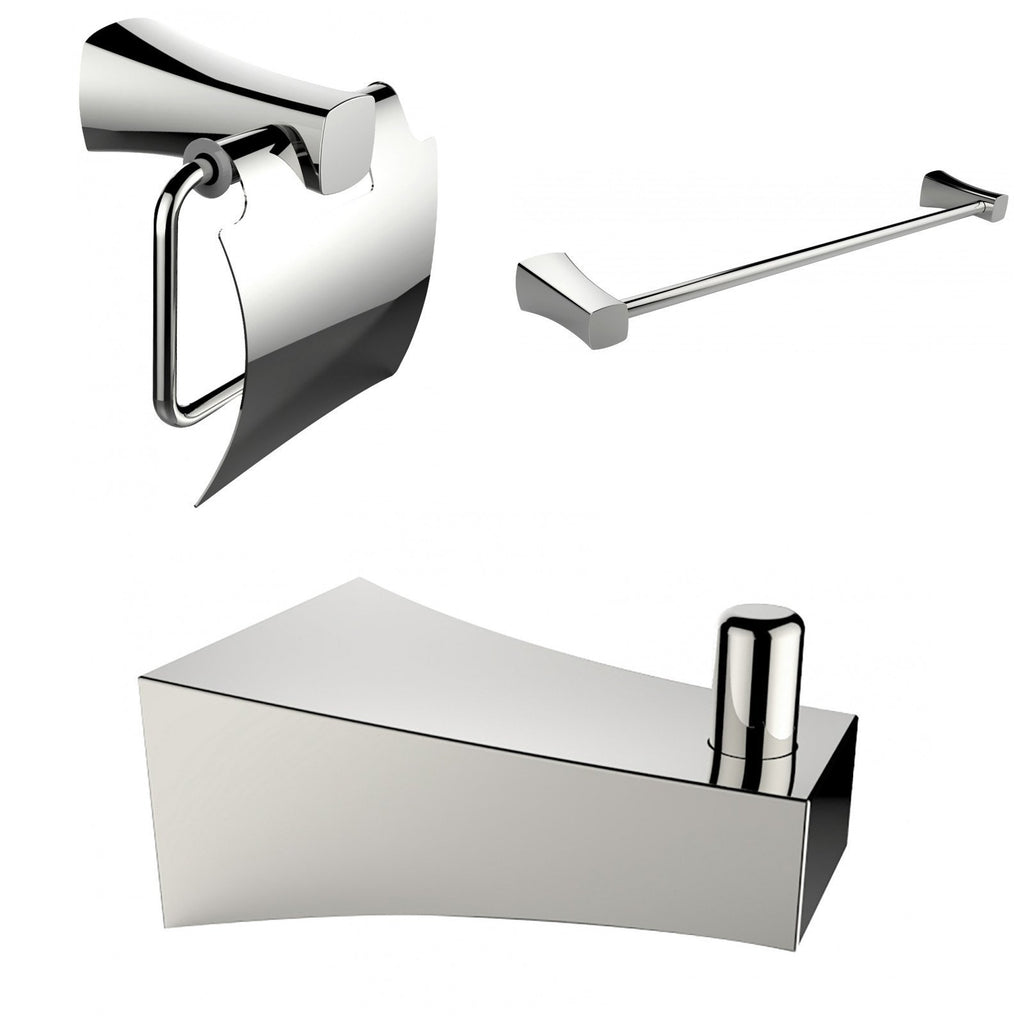 American Imaginations  Chrome Plated Single Rod Towel Rack With Robe Hook And Toilet Paper Holder Accessory Set AI-13496
