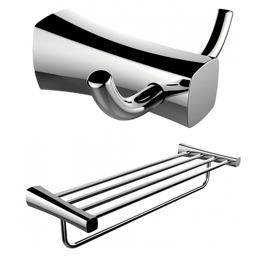 American Imaginations  Double Robe Hook And Multi-Rod Towel Rack Accessory Set AI-13278