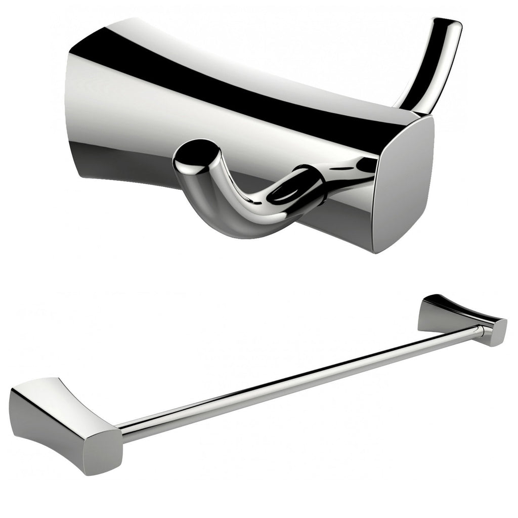 American Imaginations  Double Robe Hook And Single Rod Towel Rack Accessory Set AI-13277