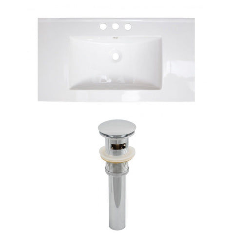 American Imaginations Drake 35.5-in. W 3H4-in. Ceramic Top Set In White Color - Overflow Drain Incl. AI-15508