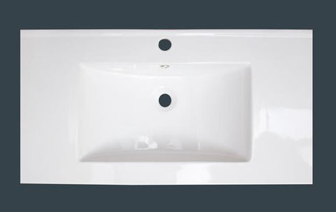 American Imaginations Drake 35.5-in. W X 19.75-in. D Ceramic Top In White Color For 1 Hole Faucet AI-77