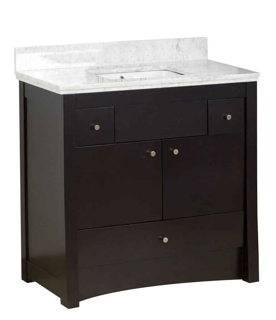 American Imaginations Elite 36-in. W Floor Mount Distressed Antique Walnut Vanity Set For 3H8-in. Drilling Bianca Carara Top White UM Sink AI-1650