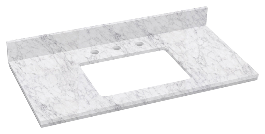 American Imaginations Elite 36-in. W X 18.25-in. D Marble Top In Bianca Carara Color For 3H8-in. Faucet AI-680