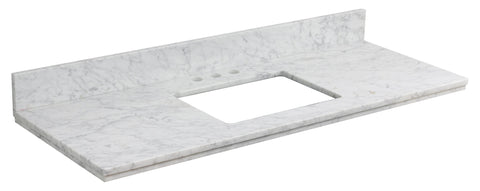 American Imaginations Elite 47.6-in. W X 18.25-in. D Marble Top In Bianca Carara Color For 3H4-in. Faucet AI-683