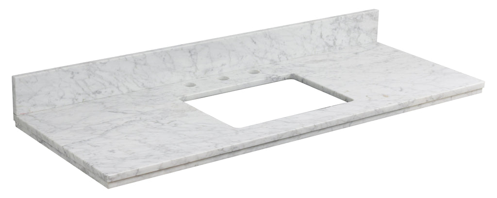 American Imaginations Elite 47.6-in. W X 18.25-in. D Marble Top In Bianca Carara Color For 3H8-in. Faucet AI-684