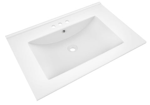 American Imaginations Flair 23.75-in. W X 18.25-in. D Ceramic Top In White Color For 3H4-in. Faucet AI-424