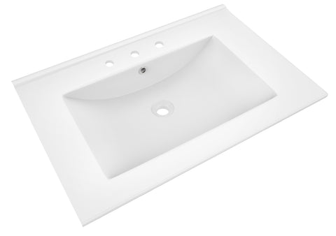 American Imaginations Flair 23.75-in. W X 18.25-in. D Ceramic Top In White Color For 3H8-in. Faucet AI-385