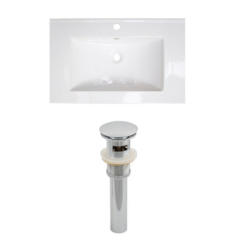 American Imaginations Flair 25-in. W 1 Hole Ceramic Top Set In White Color - Overflow Drain Incl. AI-15578