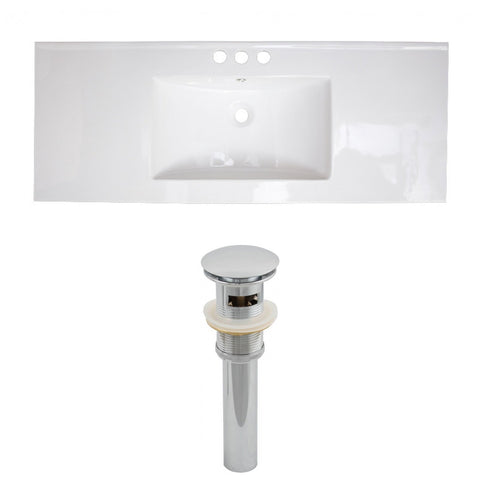 American Imaginations Flair 48.75-in. W 3H8-in. Ceramic Top Set In White Color - Overflow Drain Incl. AI-15589