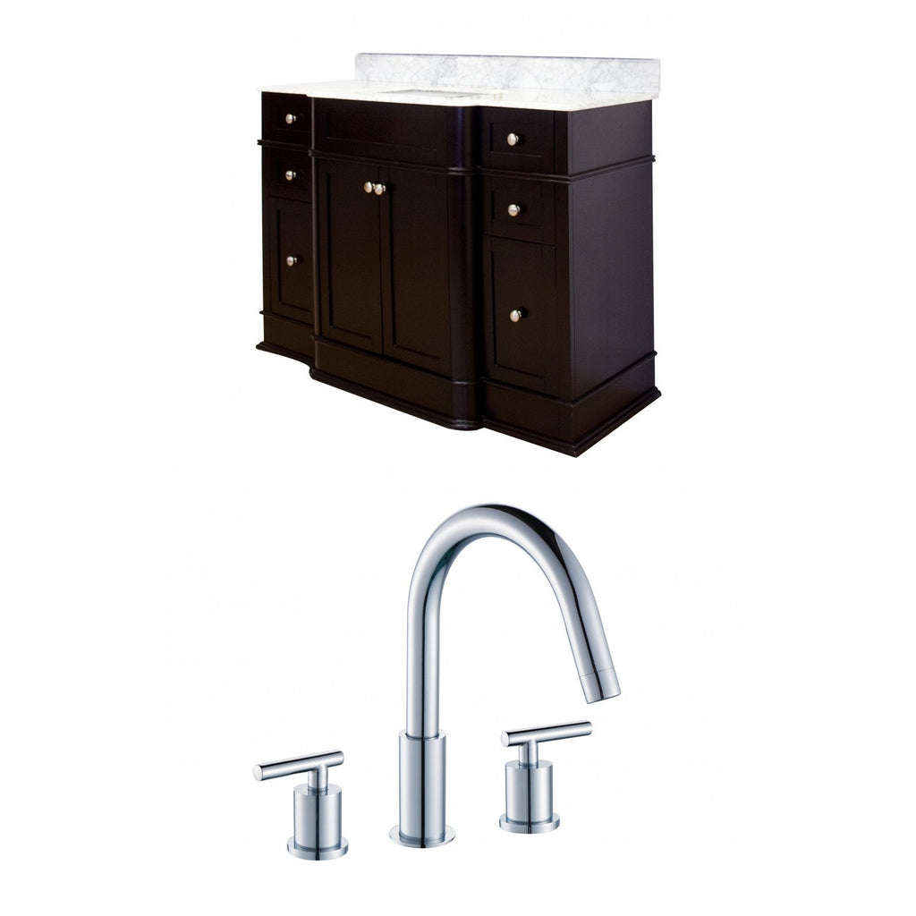 American Imaginations Granicus 49.25-in. W Floor Mount Dark Mahogany Vanity Set For 3H8-in. Drilling Bianca Carara Top White UM Sink AI-8650