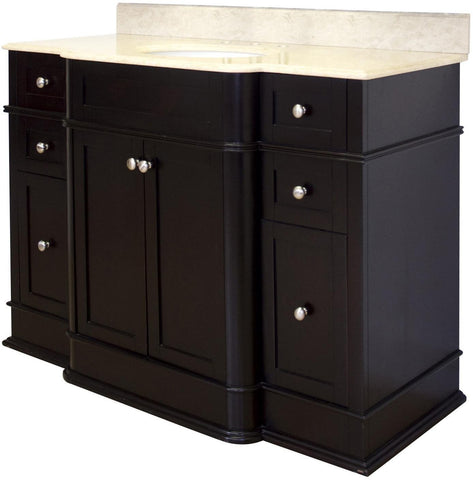 Image of American Imaginations Granicus 50-in. W Floor Mount Dark Mahogany Vanity Set For 3H8-in. Drilling Beige Top White UM Sink AI-940