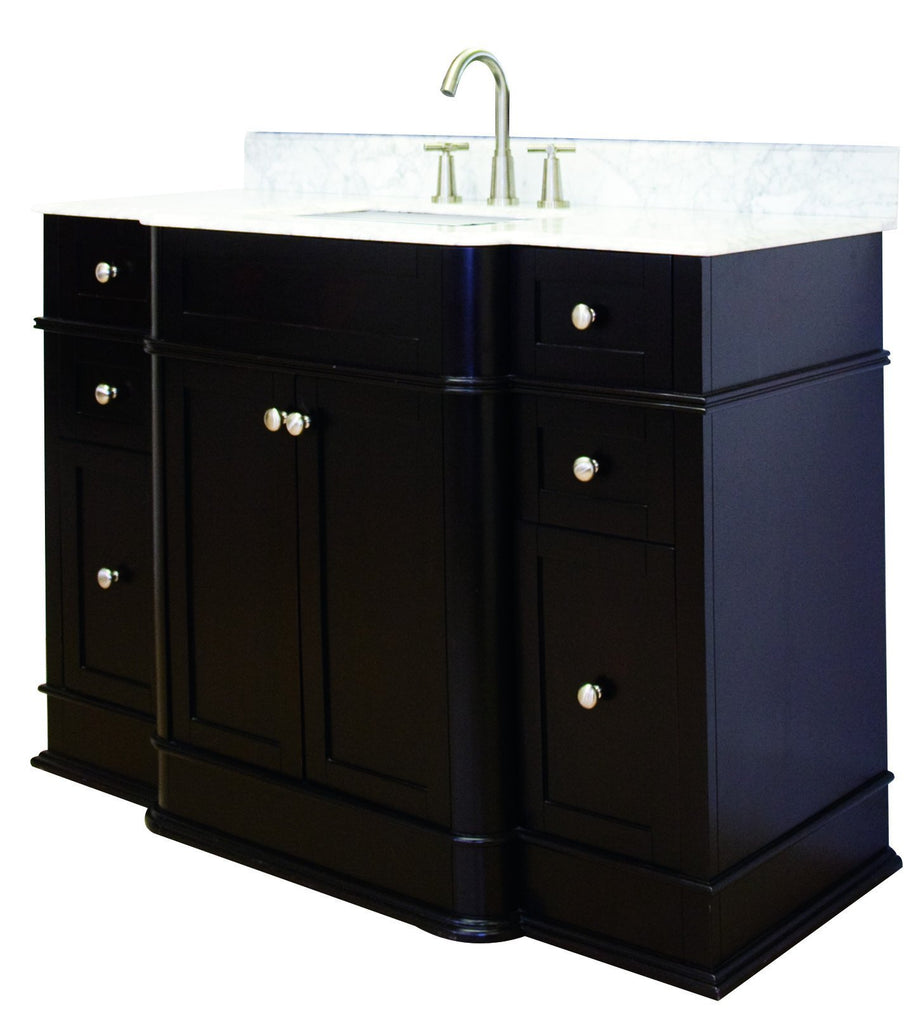 American Imaginations Granicus 50-in. W Floor Mount Dark Mahogany Vanity Set For 3H8-in. Drilling Bianca Carara Top White UM Sink AI-944
