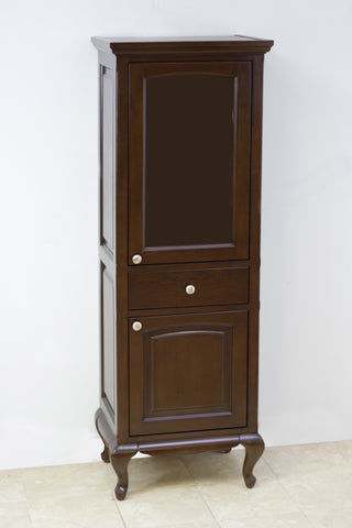 Image of American Imaginations Juliet 21.5-in. W X 62.75-in. H Traditional Birch Wood-Veneer Linen Tower In Walnut AI-57