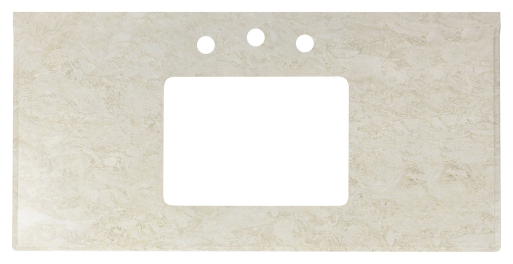 American Imaginations Juliet 39.75-in. W X 19.5-in. D Marble Top In Beige Color For 3H8-in. Faucet AI-306