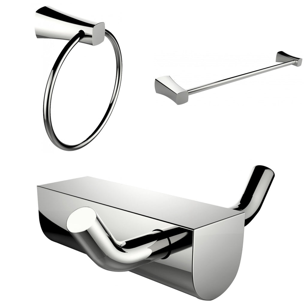 American Imaginations  Modern Towel Ring With Single Rod Towel Rack And Robe Hook Accessory Set AI-13667