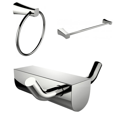Image of American Imaginations  Modern Towel Ring With Single Rod Towel Rack And Robe Hook Accessory Set AI-13667