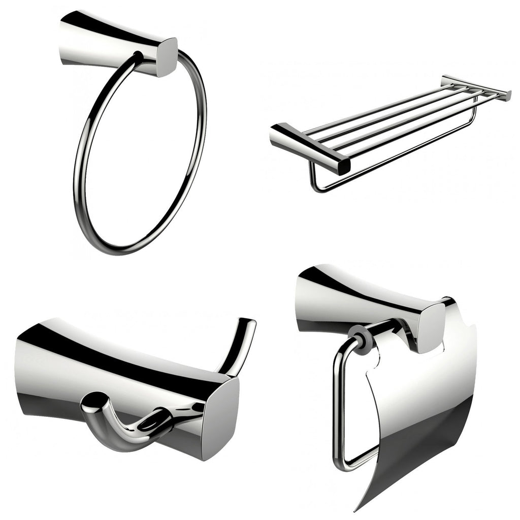 American Imaginations  Multi-Rod Towel Rack With Towel Ring, Robe Hook And Toilet Paper Holder Accessory Set AI-13976