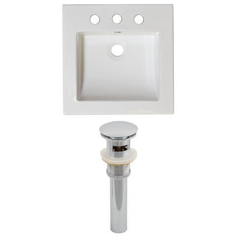 American Imaginations Nikki 21.5-in. W 3H8-in. Ceramic Top Set In White Color - Overflow Drain Incl. AI-15543