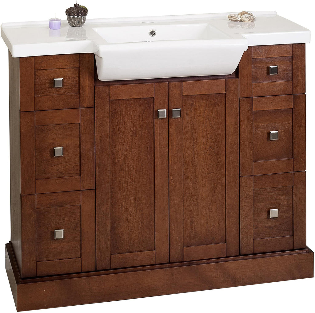 American Imaginations Prelude 40-in. W Floor Mount Cherry Vanity Set For 1 Hole Drilling AI-763
