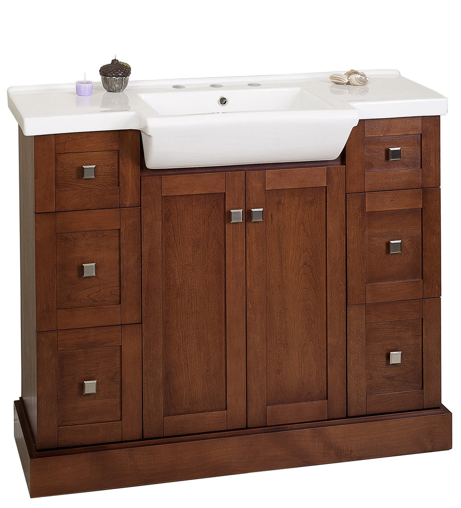American Imaginations Prelude 40-in. W Floor Mount Cherry Vanity Set For 3H8-in. Drilling AI-18171