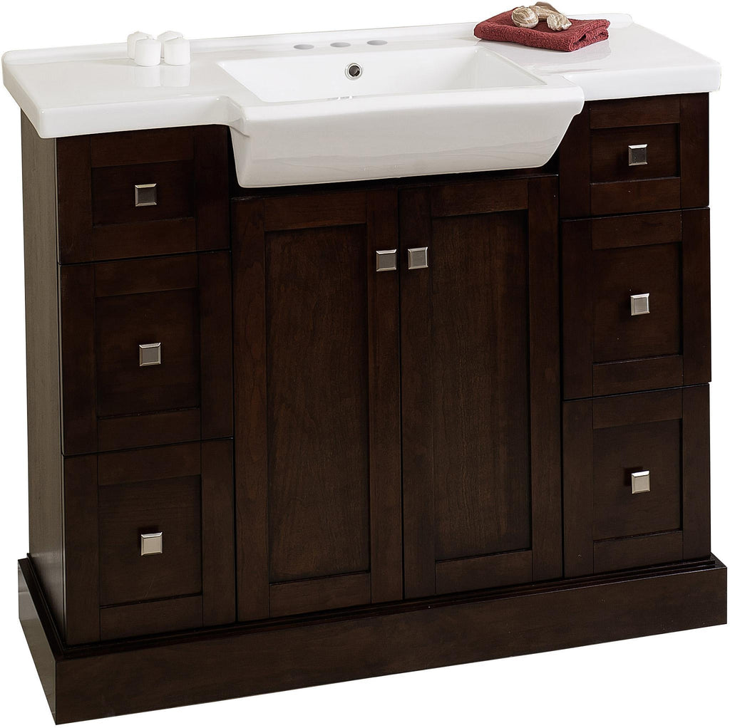 American Imaginations Prelude 40-in. W Floor Mount Walnut Vanity Set For 3H4-in. Drilling AI-18174