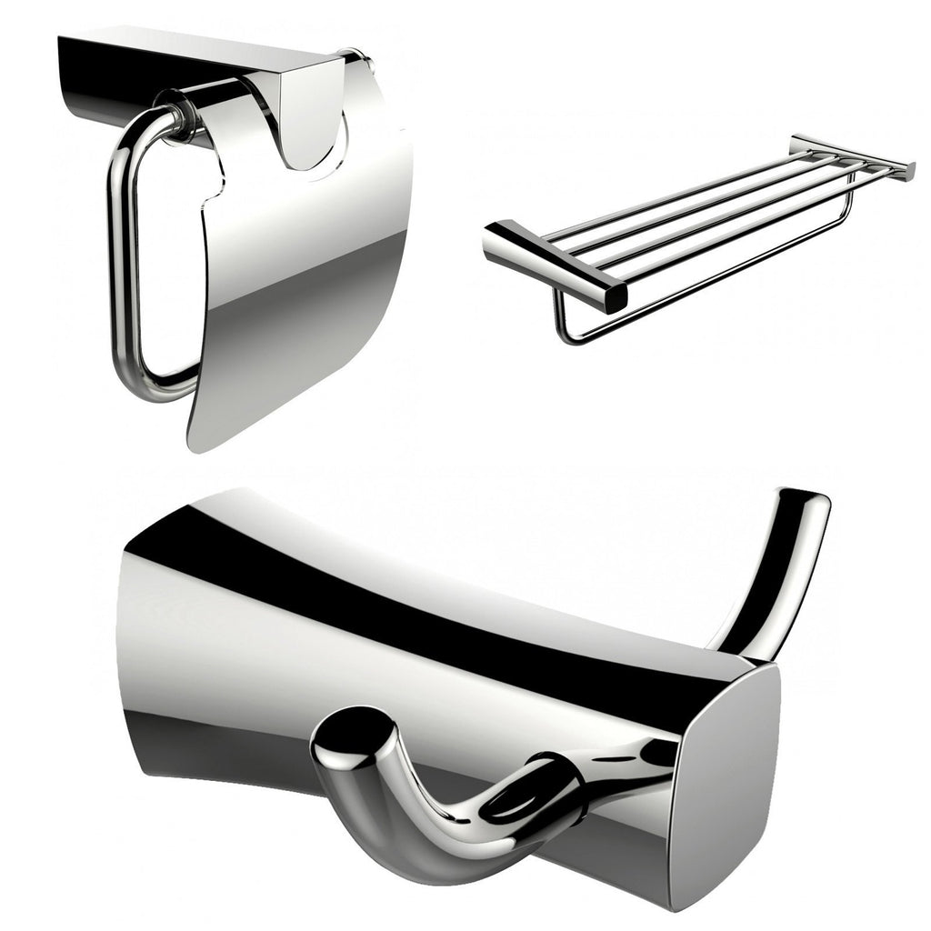 American Imaginations  Robe Hook, Multi-Rod Towel Rack And Toilet Paper Holder Accessory Set AI-13438