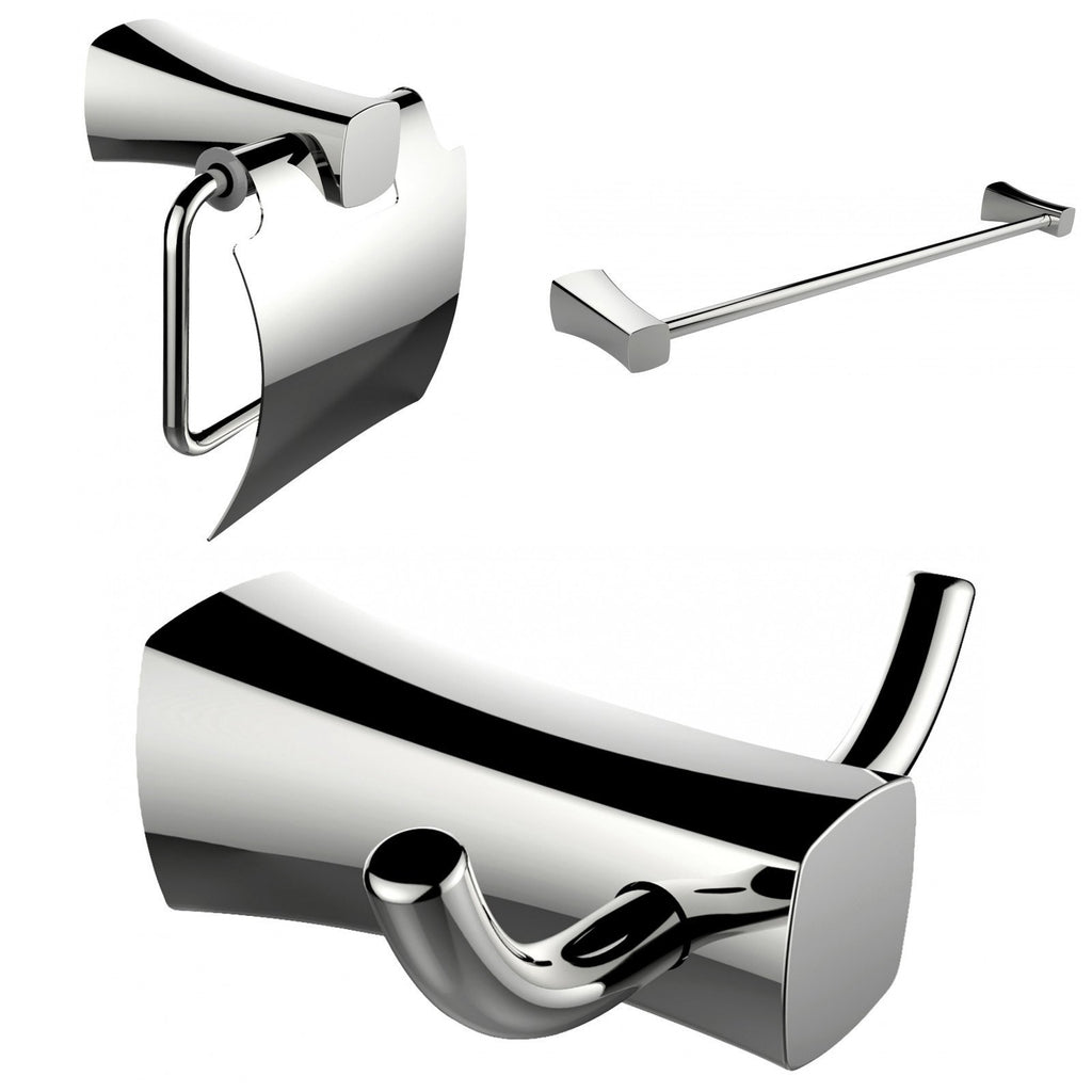 American Imaginations  Robe Hook, Toilet Paper Holder And Single Rod Towel Rack Accessory Set AI-13418