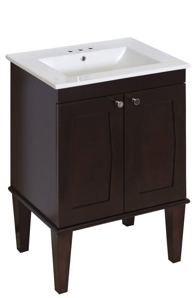 American Imaginations Roxy 23.75-in. W Floor Mount Antique Walnut Vanity Set For 3H4-in. Drilling AI-474