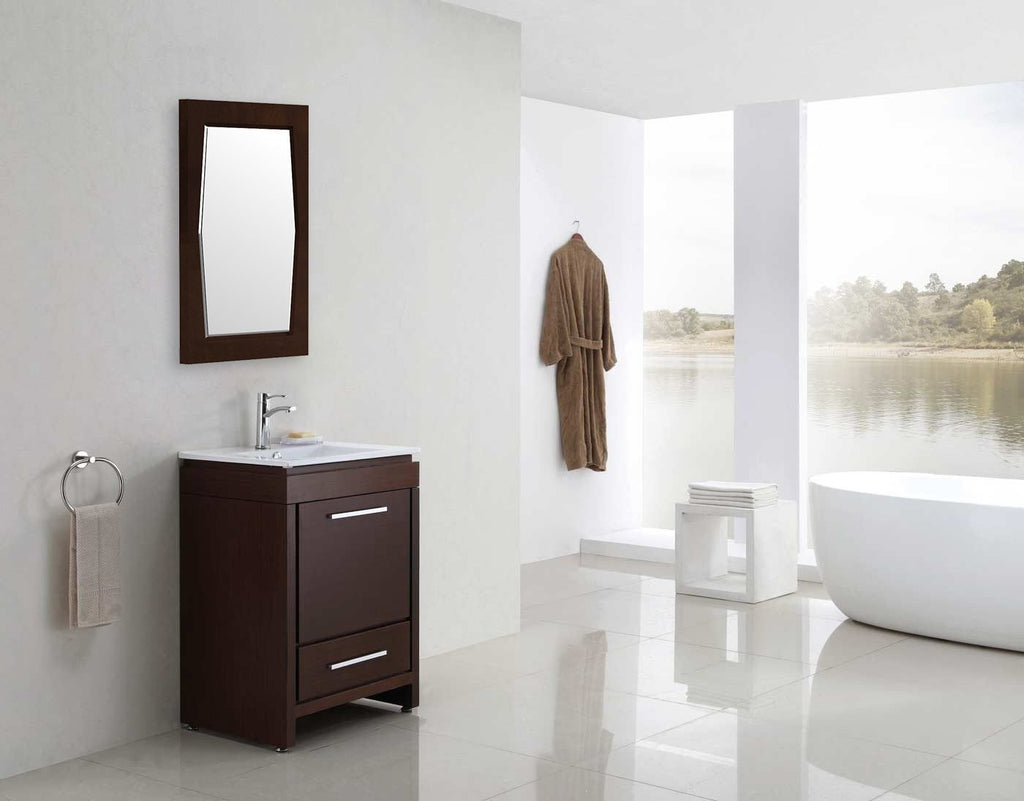 American Imaginations Roxy 24-in. W X 34-in. H Transitional Birch Wood-Veneer Wood Mirror In Antique Walnut AI-400