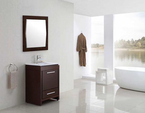 Image of American Imaginations Roxy 34-in. W X 34-in. H Transitional Birch Wood-Veneer Wood Mirror In Antique Walnut AI-401
