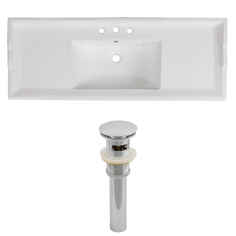 American Imaginations Roxy 48-in. W 3H4-in. Ceramic Top Set In White Color - Overflow Drain Incl. AI-15594