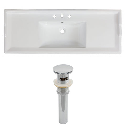 American Imaginations Roxy 48-in. W 3H8-in. Ceramic Top Set In White Color - Overflow Drain Incl. AI-15595