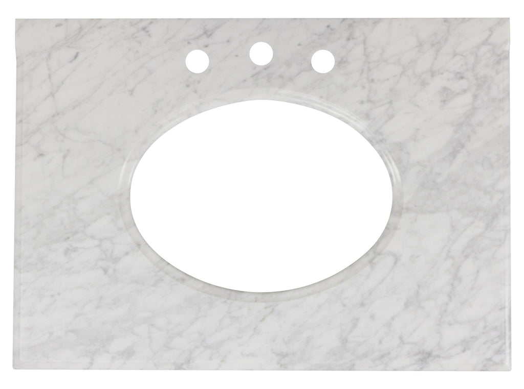 American Imaginations Saduk 31.25-in. W X 22-in. D Marble Top In Bianca Carara Color For 3H8-in. Faucet AI-19340