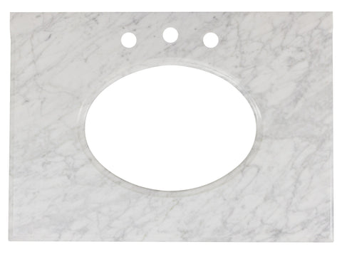 Image of American Imaginations Saduk 31.25-in. W X 22-in. D Marble Top In Bianca Carara Color For 3H8-in. Faucet AI-19340