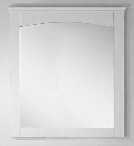 Image of American Imaginations Shaker 30-in. W X 31.5-in. H Modern Plywood-Veneer Wood Mirror In White AI-17426