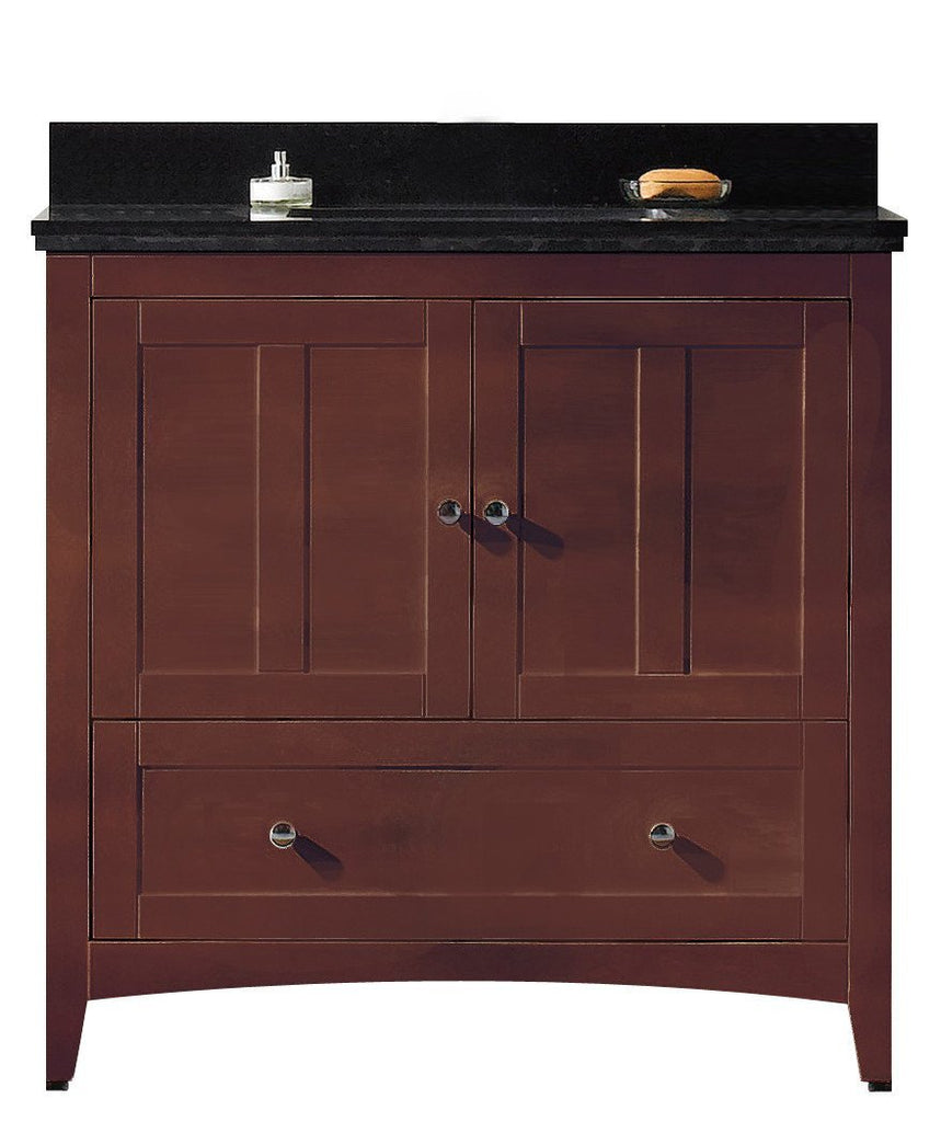 American Imaginations Shaker 36-in. W Floor Mount Walnut Vanity Set For 1 Hole Drilling Black Galaxy Top White UM Sink AI-17591
