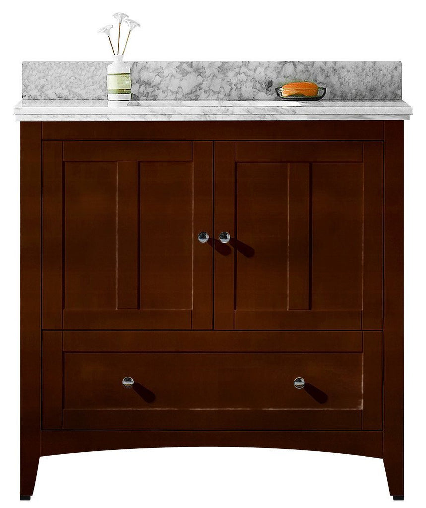 American Imaginations Shaker 36-in. W Floor Mount Walnut Vanity Set For 3H4-in. Drilling Bianca Carara Top Biscuit UM Sink AI-17602