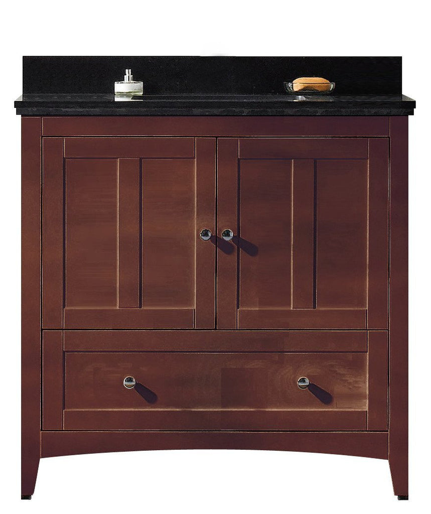 American Imaginations Shaker 36-in. W Floor Mount Walnut Vanity Set For 3H4-in. Drilling Black Galaxy Top White UM Sink AI-17595