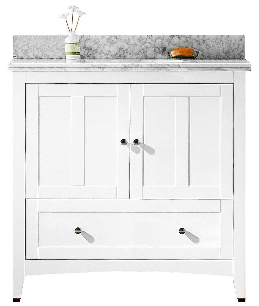 American Imaginations Shaker 36-in. W Floor Mount White Vanity Set For 1 Hole Drilling Bianca Carara Top Biscuit UM Sink AI-17622