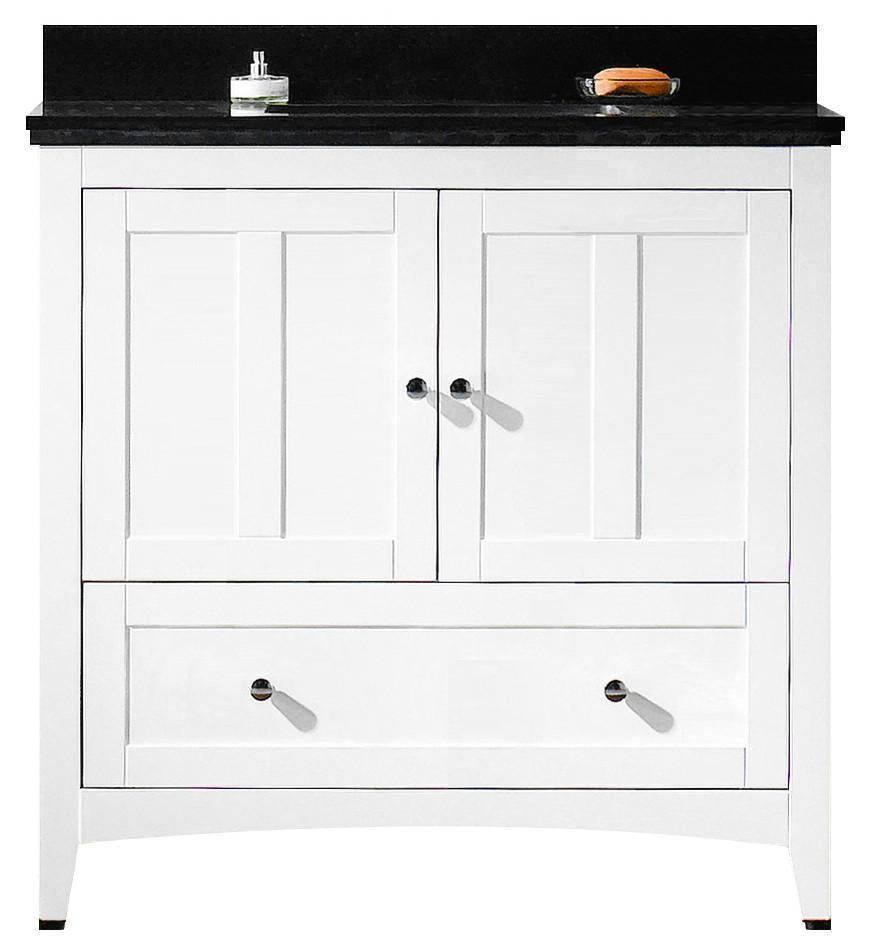 American Imaginations Shaker 36-in. W Floor Mount White Vanity Set For 1 Hole Drilling Black Galaxy Top White UM Sink AI-17615