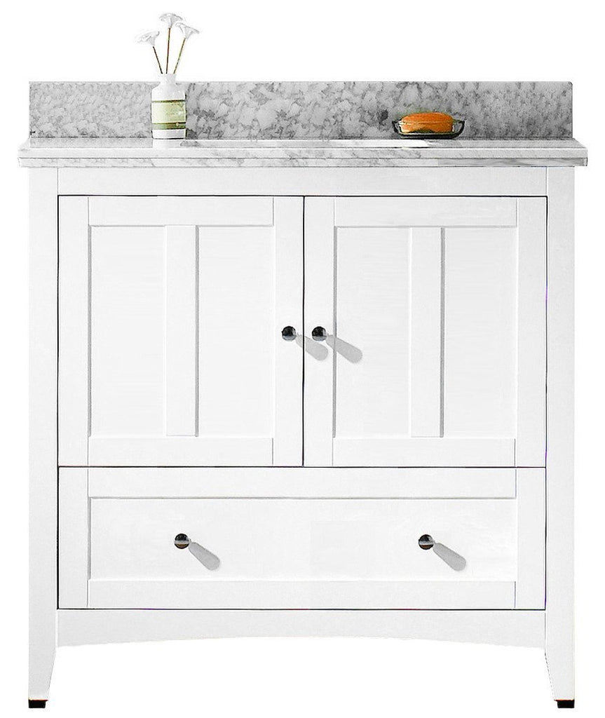 American Imaginations Shaker 36-in. W Floor Mount White Vanity Set For 3H4-in. Drilling Bianca Carara Top White UM Sink AI-17625