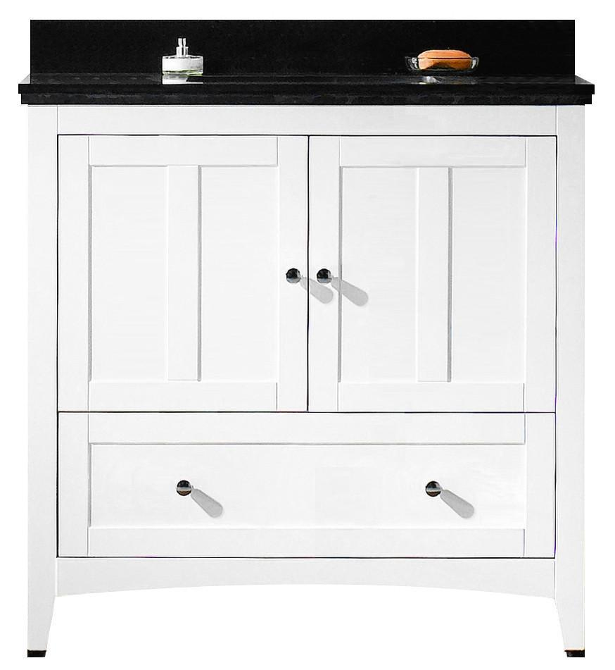 American Imaginations Shaker 36-in. W Floor Mount White Vanity Set For 3H4-in. Drilling Black Galaxy Top Biscuit UM Sink AI-17620