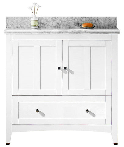 Image of American Imaginations Shaker 36-in. W Floor Mount White Vanity Set For 3H8-in. Drilling Bianca Carara Top Biscuit UM Sink AI-17624