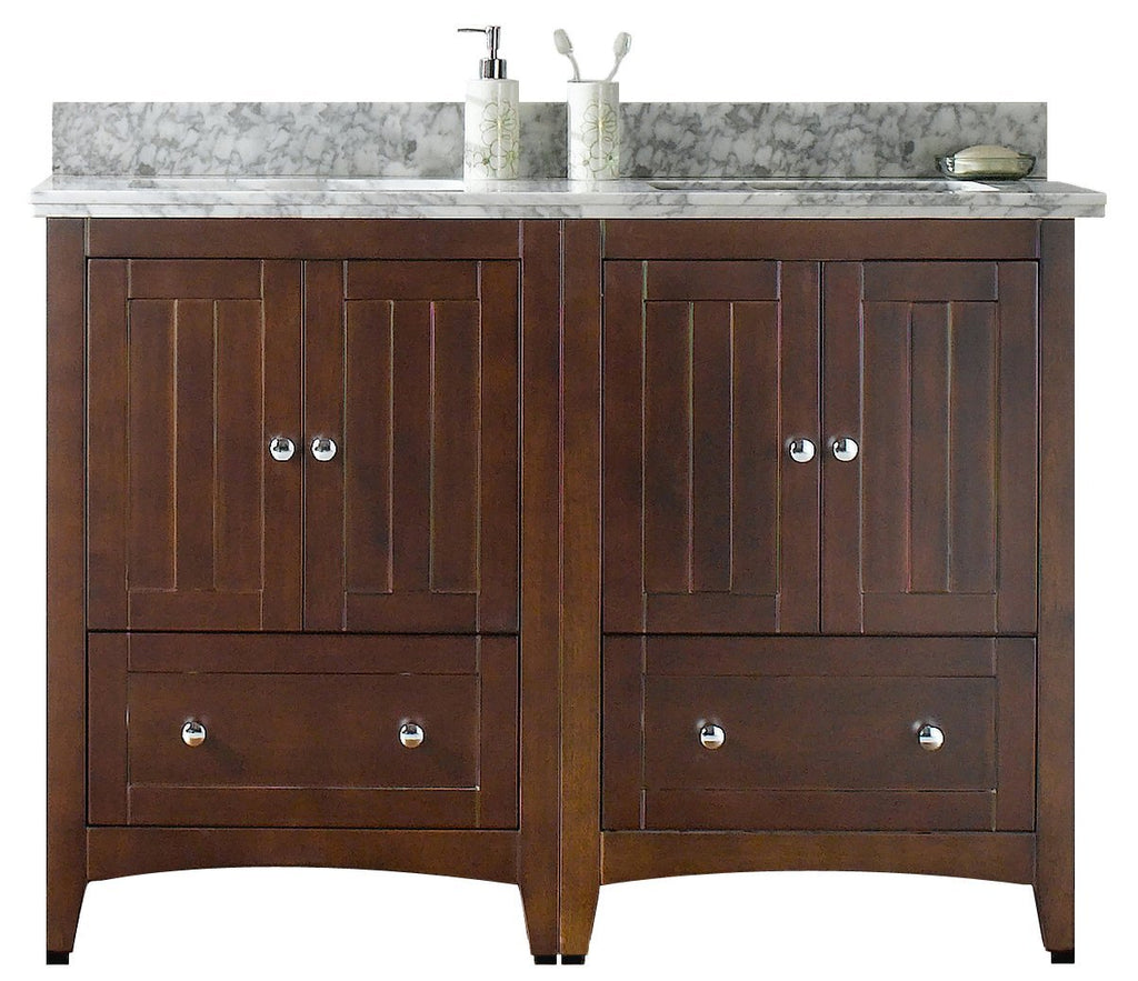 American Imaginations Shaker 47.5-in. W Floor Mount Walnut Vanity Set For 1 Hole Drilling Bianca Carara Top Biscuit UM Sink AI-17770